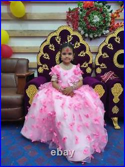 Kids Baby Girls Dress Princess Party Pageant Wedding Embroidered Dress Butterfly