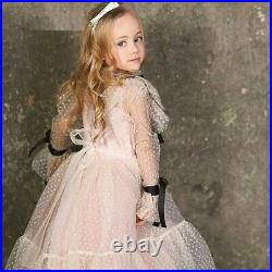 Kids Flower Girls Dresses Polka Dots Tulle Lace Long Sleeved Ribbons Party Dress