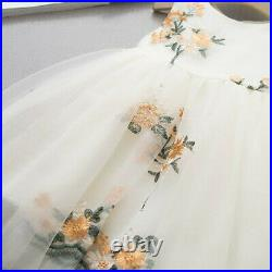 Kids Girl Princess Pageant Party Dresses Clothes Toddler Baby Flower Tulle Dress