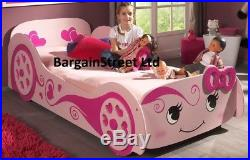 Kids Girls 3ft Single Princess Love Car Bed Frame in Pink And Comfy Mattress