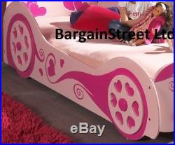Kids Girls 3ft Single Princess Love Car Bed Frame In Pink