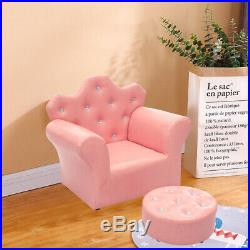 Kids Mini Sofa PU Leather Chairs Children Armchair with Stools Girl Princess Gifts