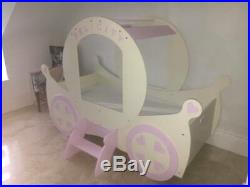 Kids Pink Girls Princess Bed Themed Royal Coach with Name Badge Personalised