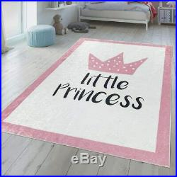 Kids Play Mat Princess Pink Cream Girls Bedroom Mat Washable Extra Large Small