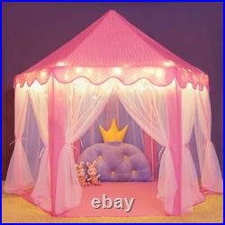 Kids Play Tent Pink Princess Castle House for Girls with LED Lights Indoor/Outdoor