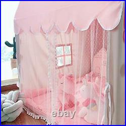 Kids Play Tent Princess Castle with 9.9ft Star String Lights Girls Large Pink