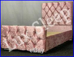 Kids Princess Pink Crushed Velvet Chesterfield Diamante Bed Frame 3ft