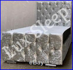Kids Princess Pink & Silver Crushed Velvet Chesterfield Diamante Bed Frame 3ft