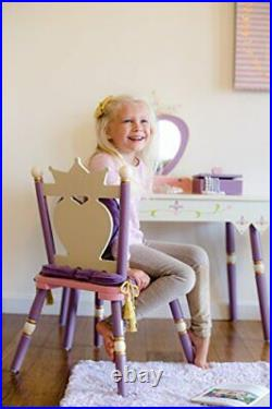 Kids Princess Wooden Vanity and Chair Set for Boys and Girls, Vanity Pink Pink