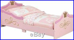 Kids Royal Palace Princess Bed With Golden Crown Toddler Bedroom Fun Furniture