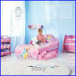 Kids Toddler Bed with Underbed Storage Princess Themed Pink