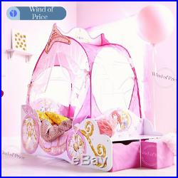 Kids Toddler Beds For Girls Princess Carriage Underbed Storage Bedroom Canopy
