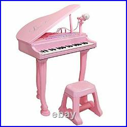 Kids Toy Grand Piano With 37-Key Keyboard Stool and Microphone Little Princess