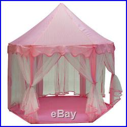 Large Indoor Outdoor Kids Play House Hexagon Princess Castle Play Tent Pink
