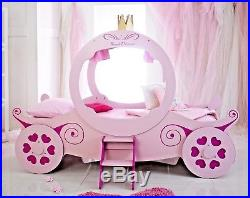 Lavish Kids Girls 3ft Single Princess Carriage Bed Frame In Pinkfree Delivery