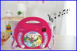 Lexibook Disney Princess Rapunzel CD player for kids with 2 toy microphones