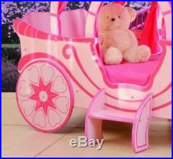Luxury Children's Pink Fairytale Carriage Princess Bed Frame Kids 3ft Single