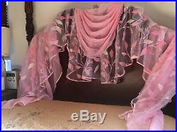 Magical Cherry Blossom Pink Glitter Voile Curtain Panel Valance Canopy Layers