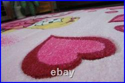 Modern And Cheap Rugs for Kids Happy Pink Princess 6 Sizes