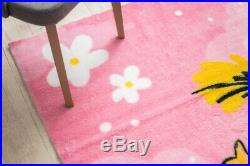 Modern Thick Soft Pink Rugs for Kids'Play' Princess Flowers Stars