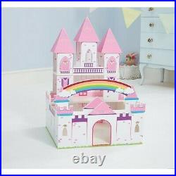 NEW Wooden Princess Play Castle Xmas Christmas Toy Kids Girls Present Gift Pink