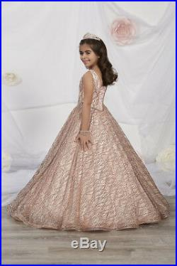 NWT Tiffany Princess 13530 ROSE GOLD Girls Pageant Gown Dress Sz 14 $328