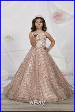 NWT Tiffany Princess 13530 ROSE GOLD Girls Pageant Gown Dress Sz 16 $328