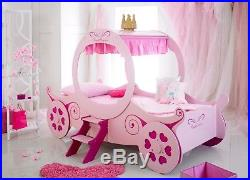 New Childrens Kids Girls 3ft Single Pink Fairy Princess Carriage Bed