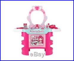 New Keezi Kid's Makeup Desk Play Dressing Table Set Pink With A Princess Seat
