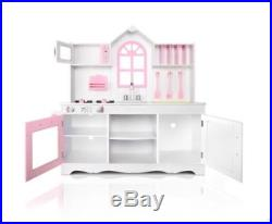New Kid's Pretend Play Wooden Kitchen Play Set White & Pink Large Storage Space