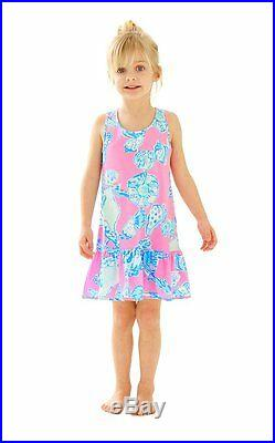New Lilly Pulitzer Girls CECILE DRESS Pink Pout Barefoot Princess Shells XS L XL