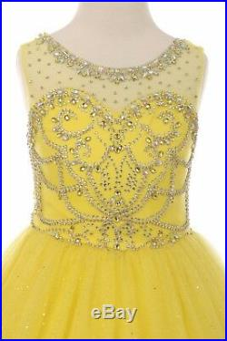 New Yellow Sparkling Princess Gown Flower Girls Dress Party Pageant Wedding 5042