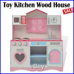 Pink Childrens Kids Play Toy Wooden Kitchen House Pink House Princess Gifts UK