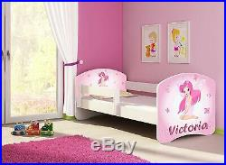 Pink Fairy Toddler Bed Incl. Mattress Side Rail PERSONALISED With Your Kids Name