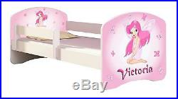 Pink Fairy Toddler Bed, Mattress and Side Rail PERSONALISED with your Kids Name