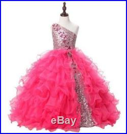 Pink Flower Girl Dress One-shoulder Beaded Princess Gowns for Party Prom Wedding