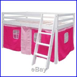 Pink Girls Cabin Loft Bed Childrens Mid Sleeper Bunk Bed Kids Single Bed withTent