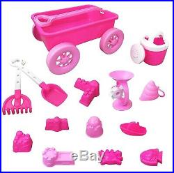 Pink Princess Beach Waggon Toy Set for Kids with Castle Moulds, Sand Wheel