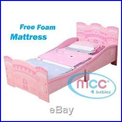 Pink Princess Castle Junior Toddler Kids Girls Bed Foam Mattress Slats Headboard
