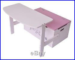 Pink Princess Convertible Kids Toy Storage Box Chest Sofa Bench Table Desk Chair