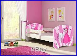 Pink Princess Toddler Bed Mattress & Side Rail PERSONALISED With Your Kids Name