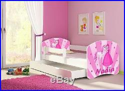 Pink Princess Toddler Storage Bed & Mattress PERSONALISED With Your Kids Name