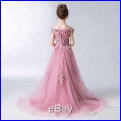 Pink & Red Color Flower Girl Dress Princess Pageant Formal Gowns For Kid