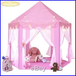 (Pink With Dot) Kids Play House Princess Tent Indoor and Outdoor Hexagon