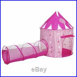 Play Tent Kids Indoor Luxury Princess Pink Castle Folding Girls Tunnel Playhouse