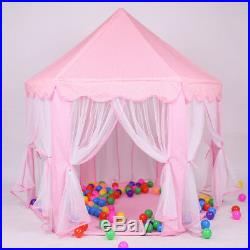 Portable Pink Play Tent Kid Girl Princess Castle Fairy Netting Castle House