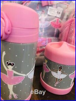 Pottery Barn Kids Ballerina Large Backpack Lunch Box Water Bottle Thermos Set