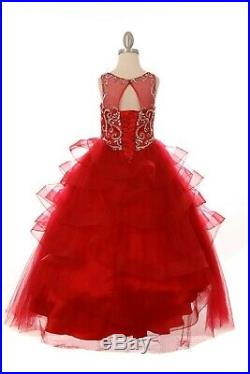 Red Flower Girl Rhinestones Jewels Long Dress Gown Wedding Pageant Princess