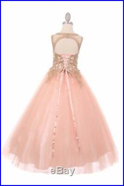 Red Sparkling Princess Flower Girls Dress Party Wedding Pageant Gown Christmas