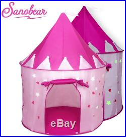 Sanobear Girls Play Tent Toy with Glow in the Dark Stars Kids Princess Castle